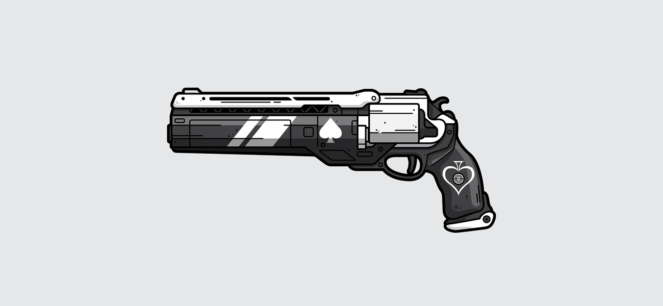 Destiny 2 Ace of Spades hand cannon vector illustration, gaming poster, gamer gift