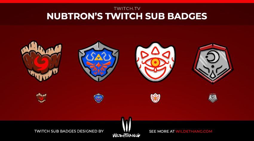 Nubtron's Zelda Subscriber Badges designed by WildeThang