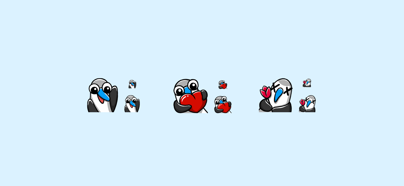 Bewbie's blue footed booby hi, love, rip twitch emotes