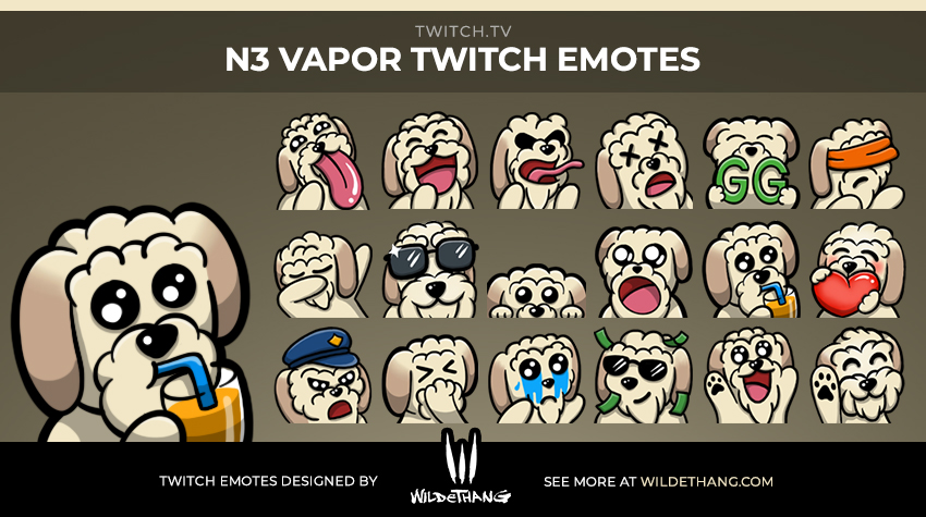 Vapor's Custom Twitch Emotes including a Dog Sad, Cop, Dab, Sellout, LUL, Lick Twitch Emotes designed by WildeThang
