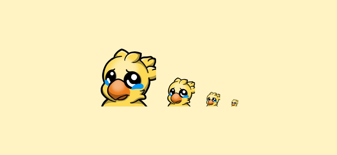 Chocobooboo Sad Chocobo Twitch Emote designed by WildeThang