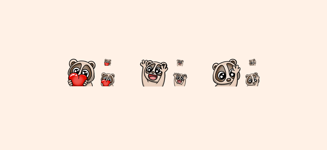 N3 Psycho's Slow Loris Twitch Emotes designed by WildeThang