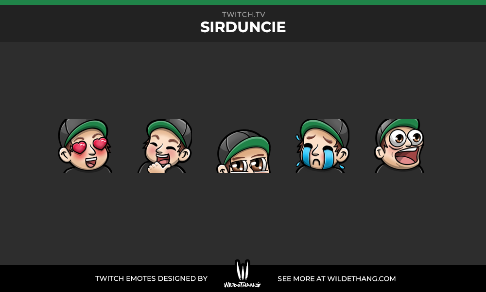 Sir Duncie's Twitch emotes designed by WildeThang