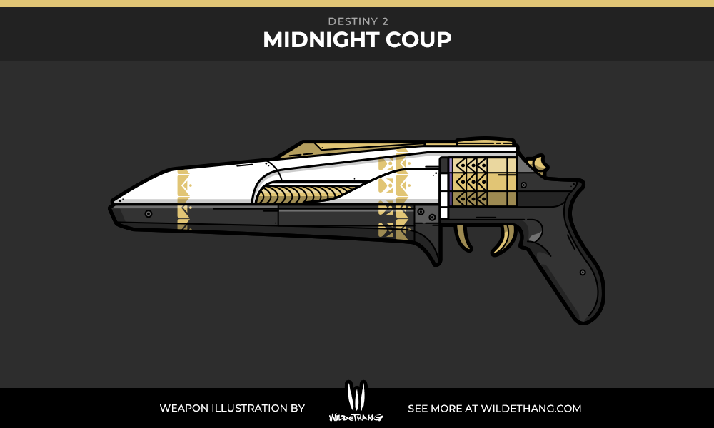 Destiny 2 Midnight Coup hand cannon vector illustration designed by WildeThang