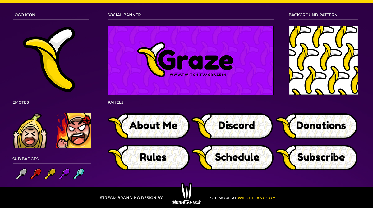 Graze81 Twitch Stream graphics including emotes, sub badges, Twitch panels and more designed by WildeThang