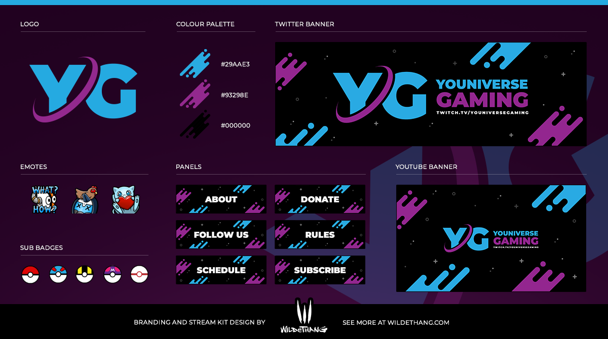 YOUniverse Gaming Twitch Stream Branding, Logo and graphics package designed by WildeThang