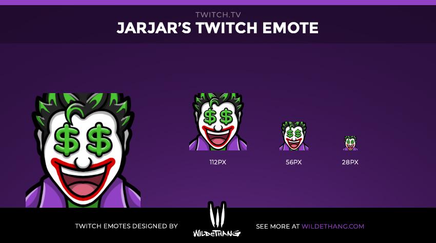 JarJar's Joker Twitch emote designed by WildeThang Twitch Emote Artist