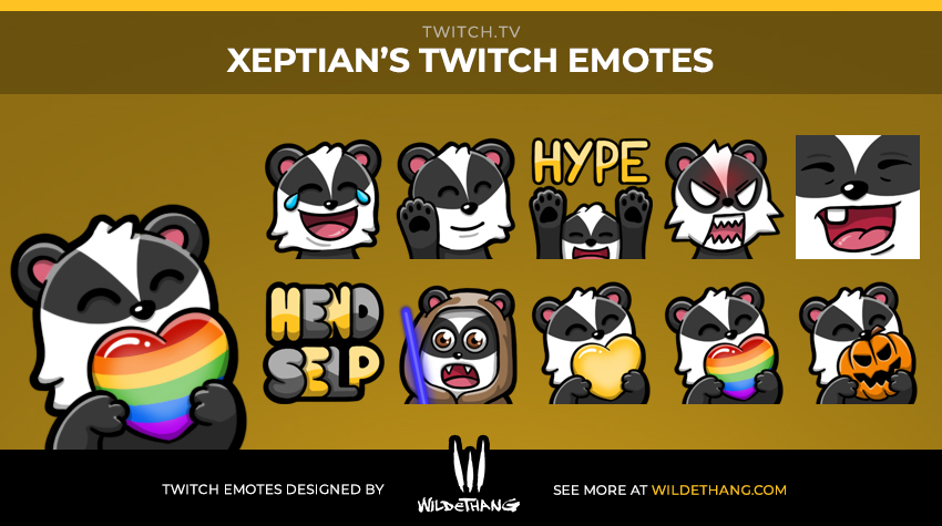 Xeptian's Badger Twitch Emotes designed by Twitch Emote designer WildeThang