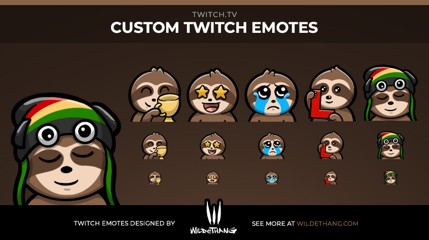 YeSloth Custom Sloth Twitch Emotes designed by WildeThang