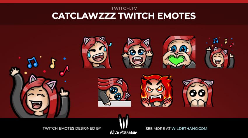 CatClawzzz custom Twitch emotes designed by WildeThang