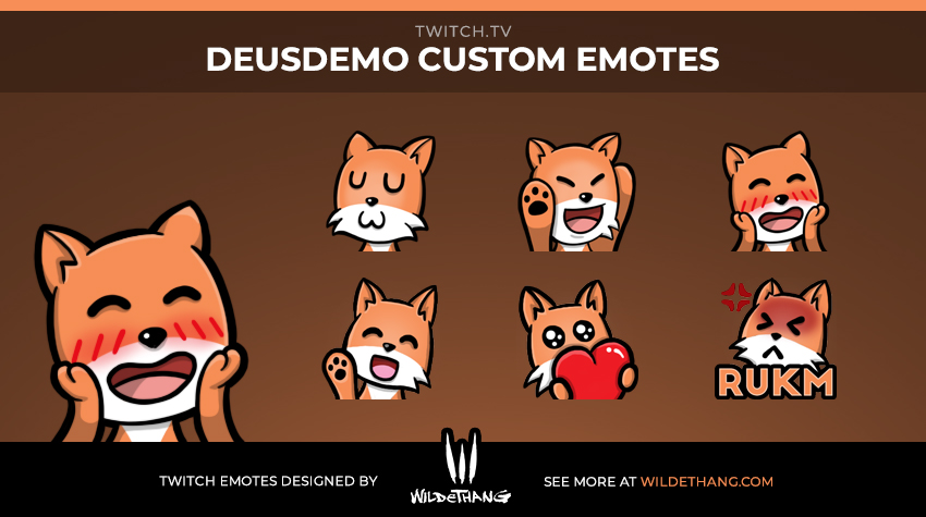 DeusDemo Custom Fox Twitch Emotes designed by WildeThang