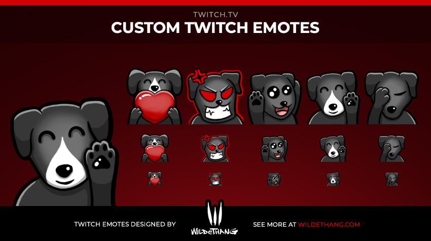 JonathanPowe's Custom dog Twitch emotes designed by WildeThang