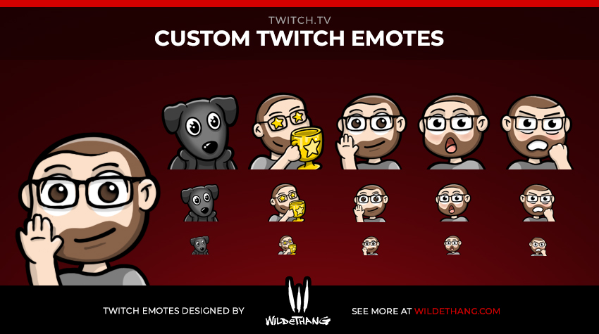 MissingSam Custom Person and Dog Twitch Emotes designed by WildeThang