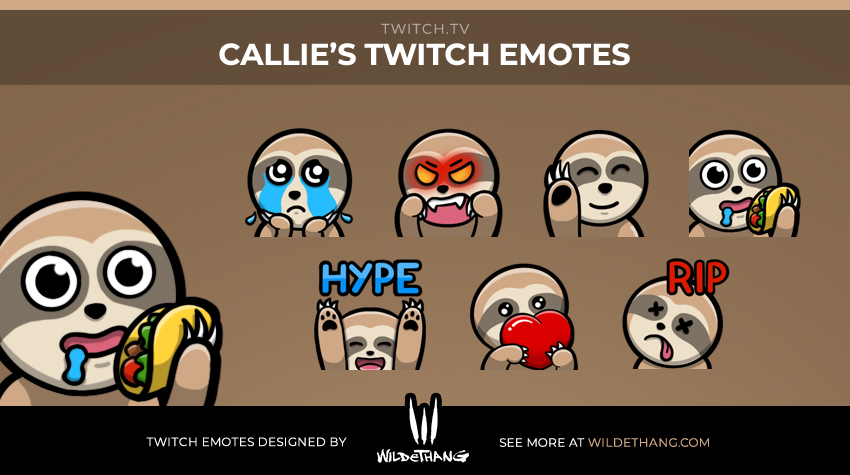 Custom Sloth Twitch emotes designed by WildeThang