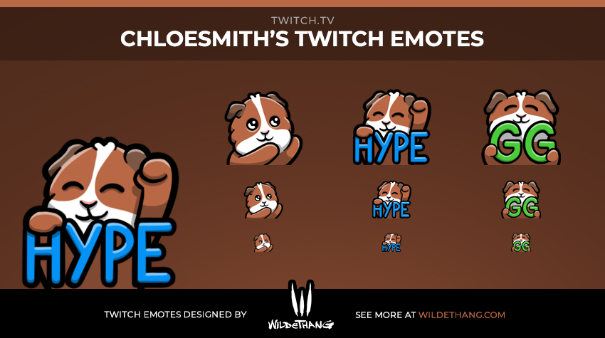 ChloeSmith's guinea pig twitch emotes designed by WildeThang