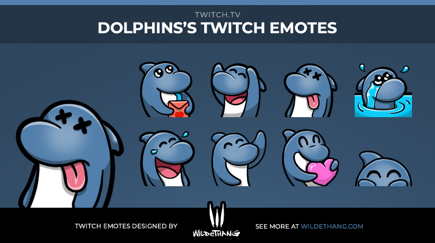 Dolphin's custom Dolphin Twitch emotes designed by WildeThang
