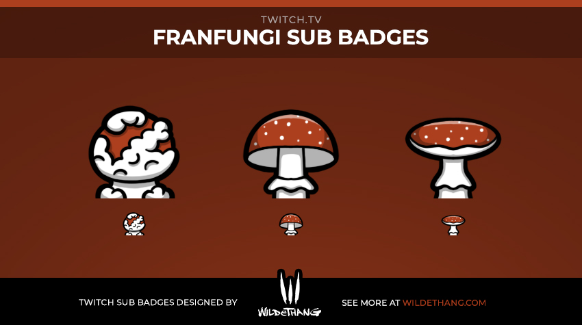 FranFungi's Mushroom Subscriber Badges designed by WildeThang