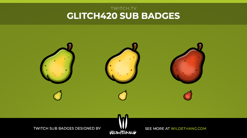 Glitch420's Pear Subscriber Badges designed by WildeThang
