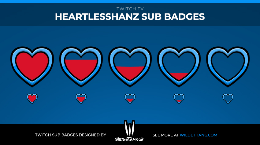 HeartlessHanz Zelda themed Twitch heart subscriber badges designed by WildeThang