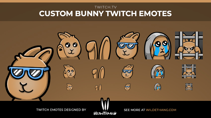 Indrek's Rabbit Twitch emotes designed by WildeThang