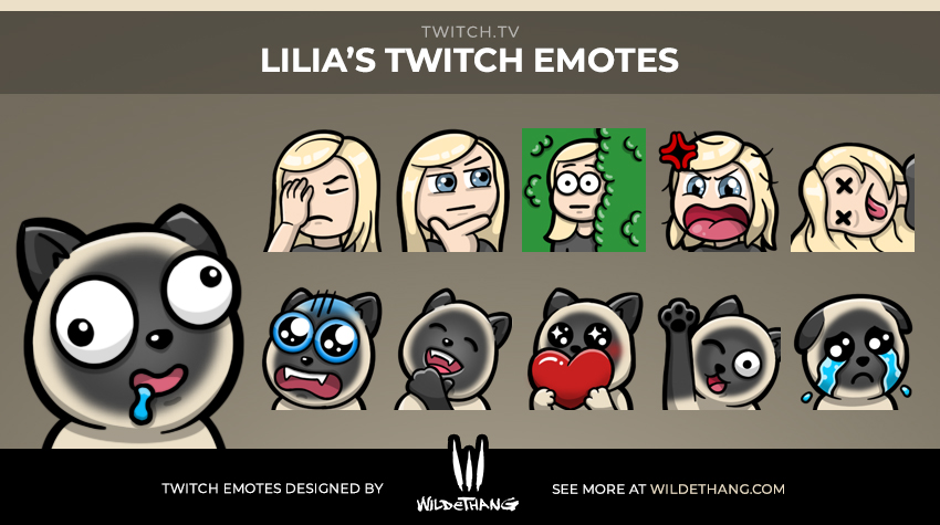LiliaTV's Cat Twitch Emotes designed by WildeThang