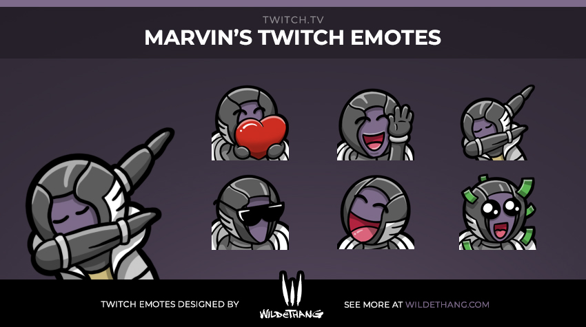 Marvin's Warlock Twitch emotes designed by WildeThang