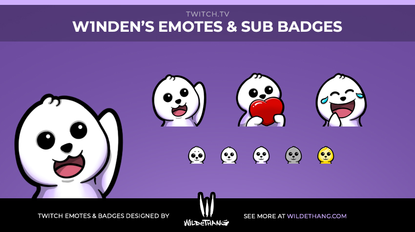 Winden's Seal Twitch Emotes and subscriber badges designed by WildeThang
