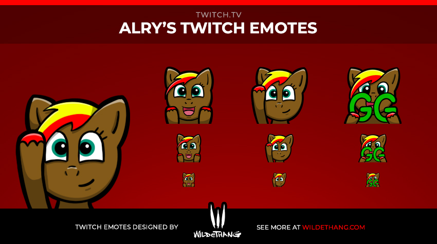 Alry Fireblade's Twitch emotes designed by WildeThang