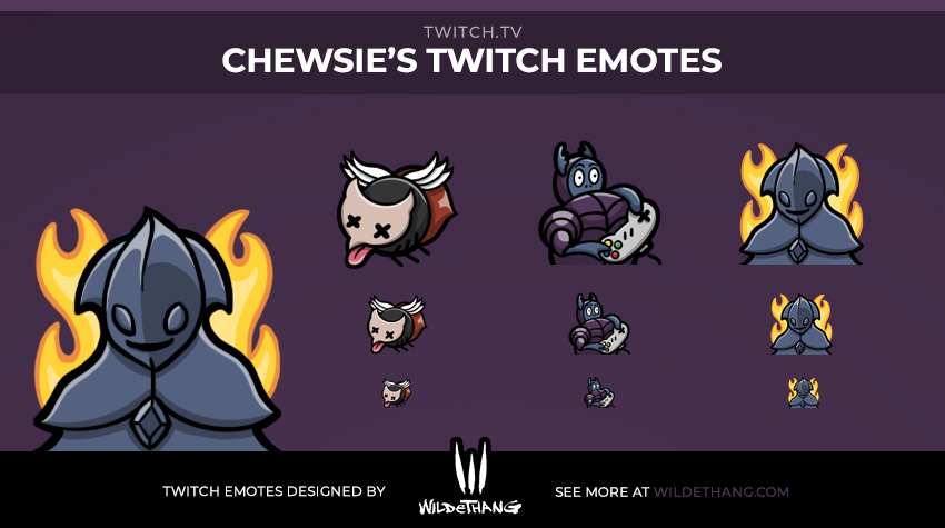 Chewsie's Twitch emotes designed by WildeThang