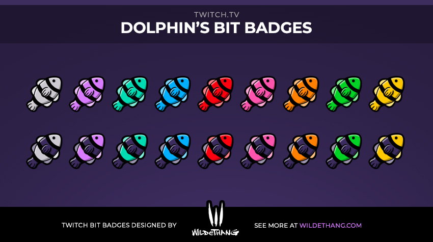 Dolphin's Twitch Bit Badges designed by Twitch emote artist WildeThang