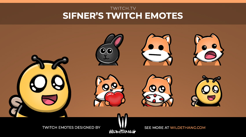 Sifner's Fox Twitch Emotes designed by Twitch emote artist WildeThang