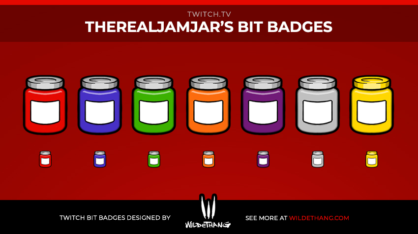 TheRealJamJar Twitch Bit Badges designed by Twitch emote artist WildeThang