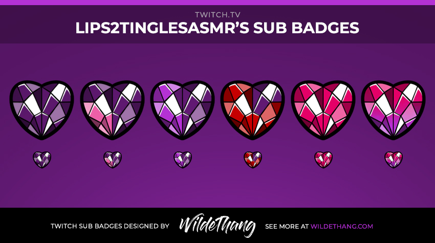 Lips2TingleASMR Subscriber badges designed by Twitch emote artist WildeThang